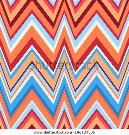 Ethnic zigzag pattern in retro colors, seamless vector background. Hipster background - stock vector