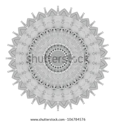 Ethnicity round ornament in black and white colors, mosaic vector illustration - stock vector