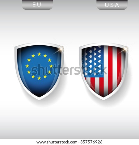 EU and USA flags shield vector - stock vector