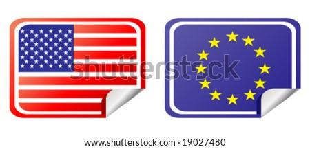 eu and usa label flag - stock vector