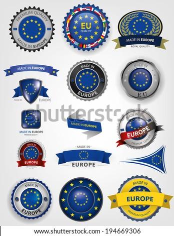 EU Flag, European seals, icon (vector Art)  - stock vector
