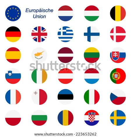 EU Member States - Flags round - stock vector