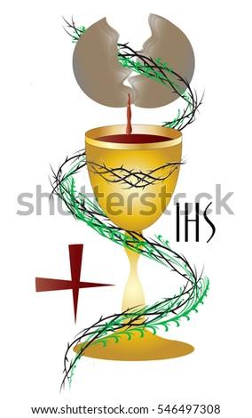 Eucharist Symbol Chalice Bleeding Host Bread Stock Photo Photo