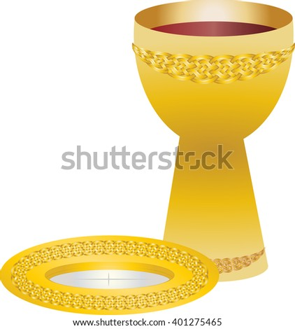 Eucharist Symbols Bread Wine Chalice Paten Stock Vector Royalty