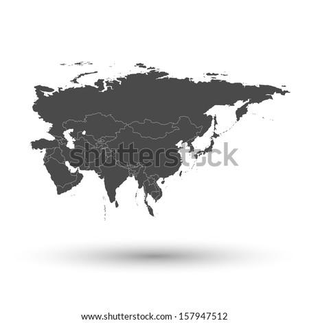 Eurasia map background vector - stock vector