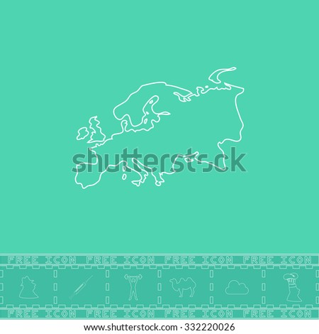 Eurasia map. White outline flat symbol and bonus icon. Simple vector illustration pictogram on green background - stock vector