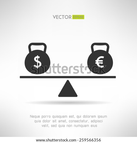 Euro and dollar equal on scales. Market balance and european economy crisis concept. Vector illustration - stock vector