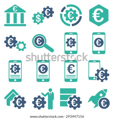 Euro banking business and service tools icons. These flat bicolor icons use cobalt and cyan colors. Images are isolated on a white background. Angles are rounded. - stock vector