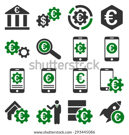 Euro banking business and service tools icons. These flat bicolor icons use green and gray colors. Images are isolated on a white background. Angles are rounded. - stock vector