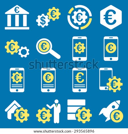 Euro banking business and service tools icons. These flat bicolor icons use yellow and white. Images are isolated on a blue background. Angles are rounded. - stock vector