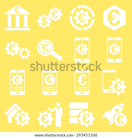 Euro banking business and service tools icons. These flat icons use white color. Images are isolated on a yellow background. Angles are rounded. - stock vector