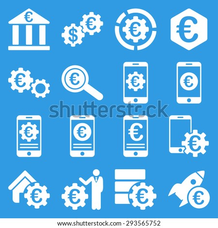 Euro banking business and service tools icons. These flat icons use white. Images are isolated on a blue background. Angles are rounded. - stock vector