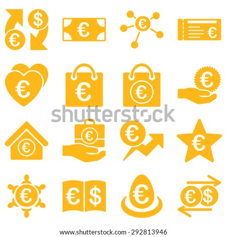 Euro banking business and service tools icons. These flat icons use yellow color. Images are isolated on a white background. Angles are rounded. - stock vector