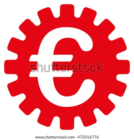 Euro Cog icon. Vector style is flat iconic symbol with rounded angles, red color, white background.