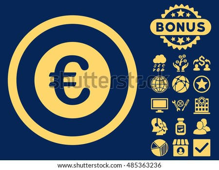 Euro Coin icon with bonus elements. Vector illustration style is flat iconic symbols, yellow color, blue background.