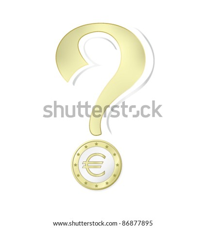 Euro coin - money concept with question mark against white background - stock vector