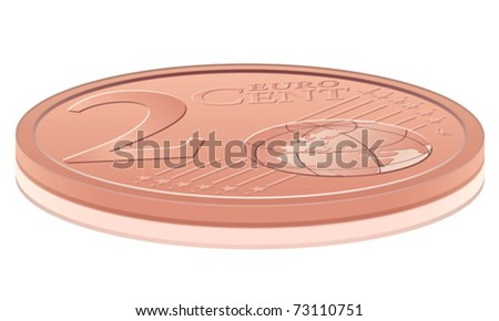 Euro coin on white background. Vector illustration.