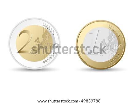 euro coins - stock vector