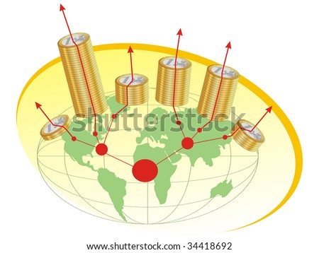 Euro coins placed on a world map, showing the inflation. This vector illustration is suitable for economic, financial crisis theme. - stock vector