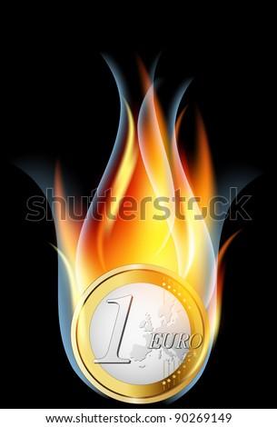 Euro crisis concept.Euro coin burning, illustration. - stock vector
