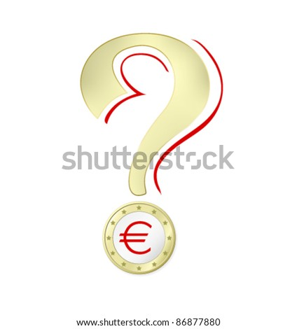 Euro crisis - Euro coin with Euro sign against white background - stock vector