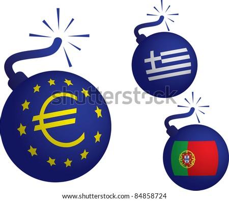 Euro crisis - falling european currency - stock vector