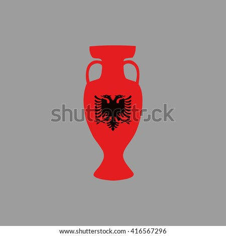 Euro cup 2016 France. Albania participant, group A. Euro 2016 official vector flat cup isolated on grey background. Eurocup, euro cup. Championship winner prize trophy. Fifa world cup 2018 Russia - stock vector