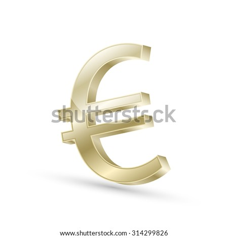 Euro currency gold symbol icon/3d vector illustration