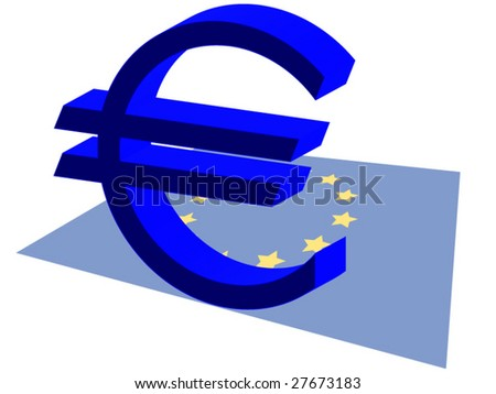 Euro currency sign with euro flag - stock vector