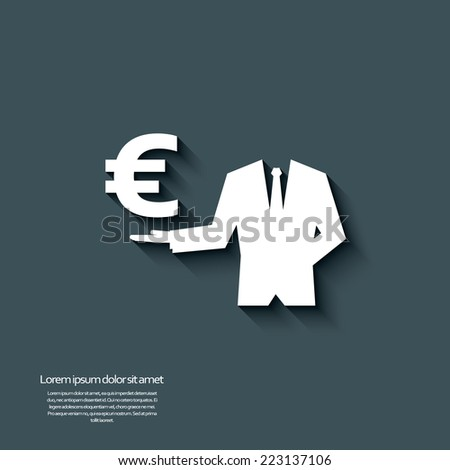 Euro currency sign with long shadow and 3d effect. Eps10 vector illustration. - stock vector