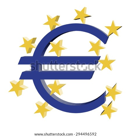 Euro currency symbol with 12 golden (yellow) stars. Vector/illustration on white background - stock vector
