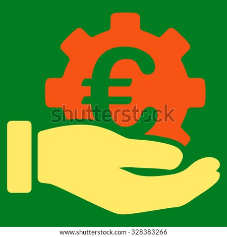Euro Development Service vector icon. Style is bicolor flat symbol, orange and yellow colors, rounded angles, green background.