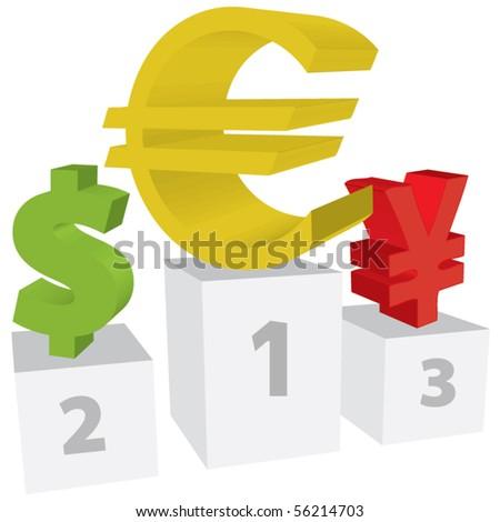 Euro, dollar and yen standing. - stock vector