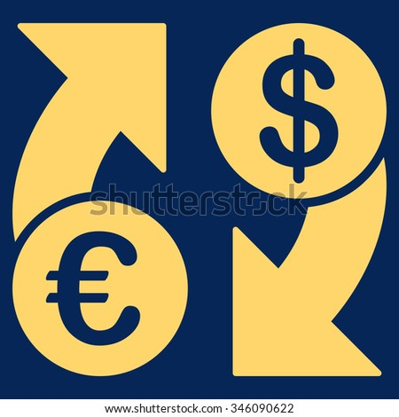 Euro Dollar Euro Exchange vector icon. Style is flat symbol, yellow color, rounded angles, blue background.
