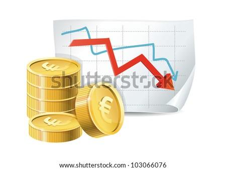 euro finance crisis concept - golden coins and descending graph - vector illustration - stock vector