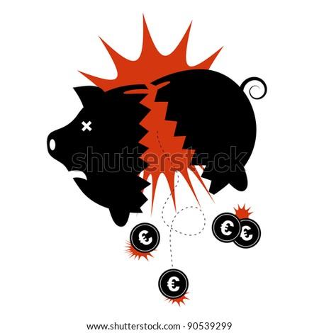 Euro financial crisis concept. Broken piggy bank with Euro coins dropping out. - stock vector