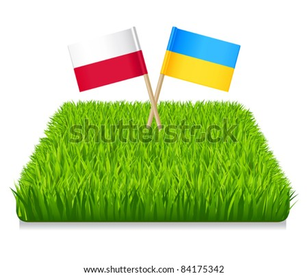Euro 2012. Flags toothpick Ukraine and Poland. Grass green - stock vector
