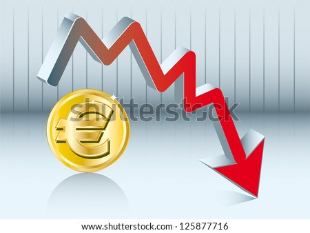 euro fluctuation. Euro is going down - stock vector