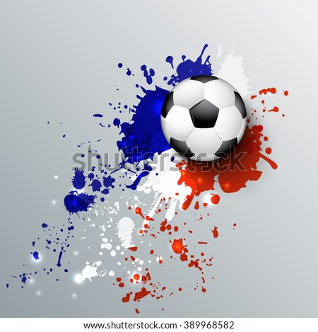 Euro 2016 France football championship with ball and france flag colors. - stock vector