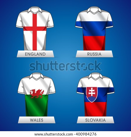 Euro 2016 France. Vector flags and groups. European football championship. Soccer tournament. GROUP E jerseys - stock vector