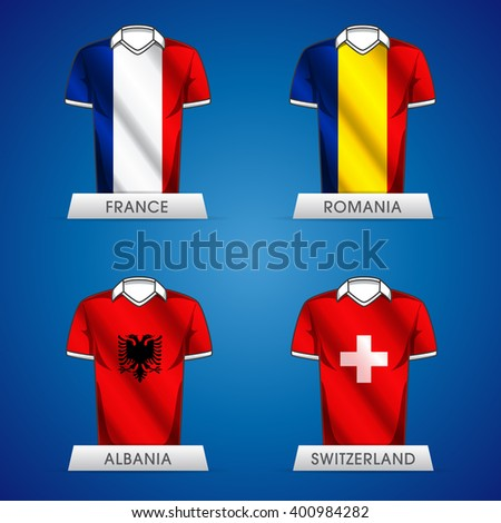 Euro 2016 France. Vector flags and groups. European football championship. Soccer tournament. GROUP A jerseys - stock vector