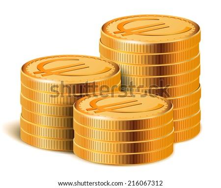 Euro Golden Coins Stacks, Vector Illustration. - stock vector
