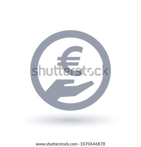 Euro Hand Symbol European Currency Pay Stock Vector 1070646878