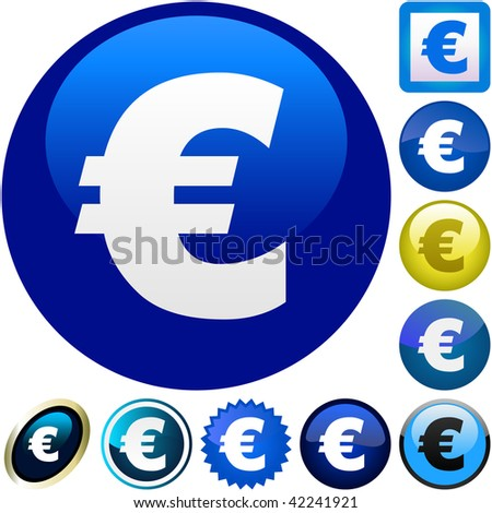 Euro icon collection for web. Vector collection. - stock vector