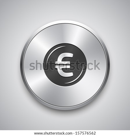Euro icon on metal button. Vector.  - stock vector