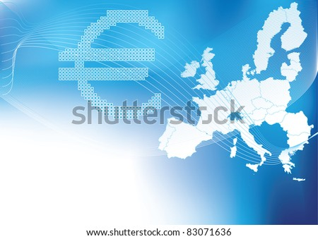 Euro in halftone europa, europe map in  background - stock vector