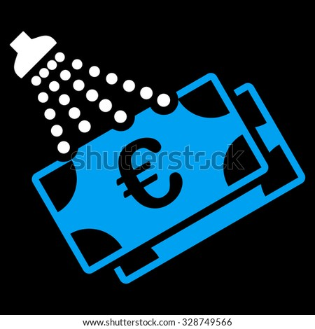 Euro Money Laundry vector icon. Style is bicolor flat symbol, blue and white colors, rounded angles, black background. - stock vector