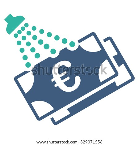 Euro Money Laundry vector icon. Style is bicolor flat symbol, cobalt and cyan colors, rounded angles, white background. - stock vector