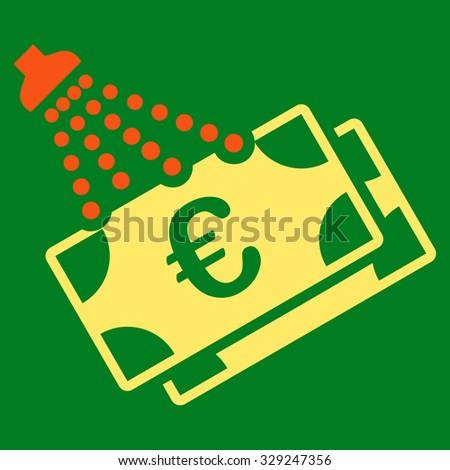 Euro Money Laundry vector icon. Style is bicolor flat symbol, orange and yellow colors, rounded angles, green background. - stock vector