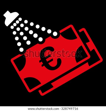Euro Money Laundry vector icon. Style is bicolor flat symbol, red and white colors, rounded angles, black background. - stock vector